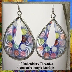 Huge Embroidery Threaded Hollow Geometric Earrings